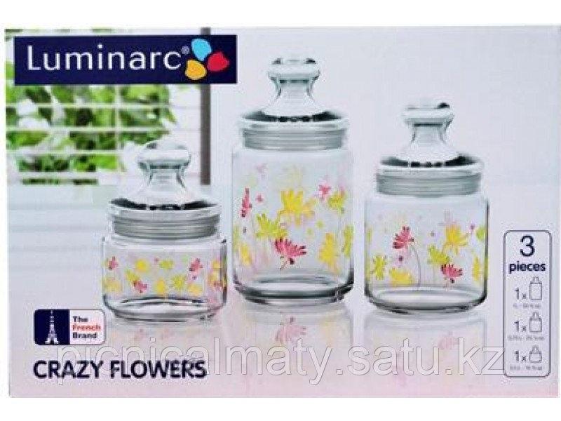 Набор банок для сыпучих Luminarc Crazy flower 0,5/0,75/1л 3пр