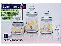 Набор банок для сыпучих Luminarc Crazy flower 0,5/0,75/1л 3пр, фото 1