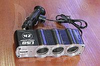 Разветвитель (тройник) в прикуриватель с USB 2.0, фото 1