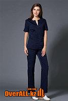 Темно-синий женский медицинский костюм, фото 1