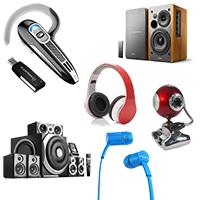 Web-камеры, наушники,микрофоны,гарнитуры, аудио-видео системы и кабели , аксессуары.