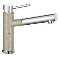 Кухонный смеситель гранит Blanco Alta-S Compact серый беж/хром (517634)
