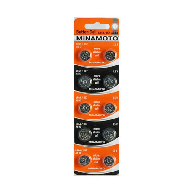 Батарейка AG13 (LR44; LR1154; G13; A76; GP76A; 357; SR44W) MINAMOTO
