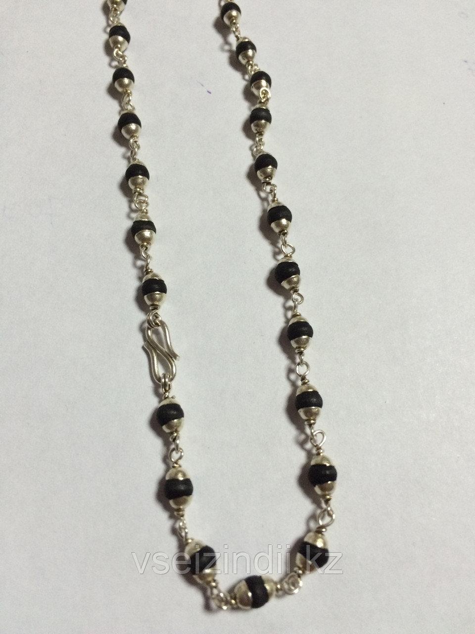 Катхиматы в серебре с Туласи, черные, один оборот . Средние