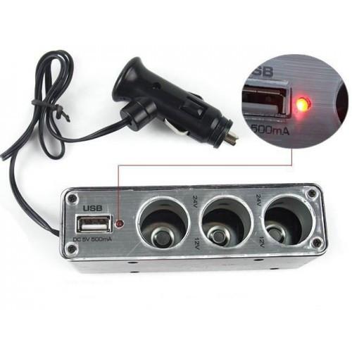 Разветвитель с 1 авто./папа/на 3 авто./мама/+USB  WF-0096