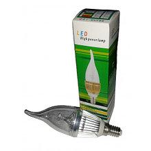 Лампа светодиодная 3W E14 3200K зелен уп свеча на ветру