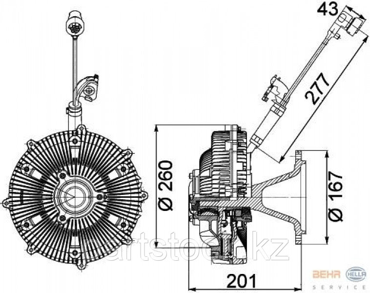 Гидромуфта (вискомуфта), с электр. контролем Euro-5 на / для MERCEDES, МЕРСЕДЕС, ACTROS, АКТРОС, MP2, МП2, MP3