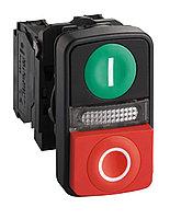 Кнопка 22мм двойная с подсветкой 240В