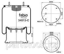 Пневмоподушка со стаканом   на SAF, САФ, FABIO 34813-C