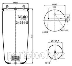 Пневмобаллон без стакана  на / для BPW, БПВ, FABIO 34941-S