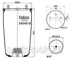 Пневмоподушка   на / для BPW, БПВ, FABIO 34940-S