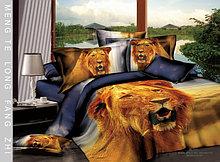 """Комплект постельного белья """"Царь зверей"""", евро размер, сатин 3Д"""