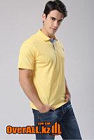 Желтая мужская рубашка поло с коротким рукавом, фото 1