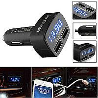 Автомобильное USB зарядное устройство 4 в 1 с вольтметром амперметром и t C