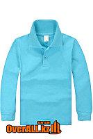 Голубая футболка поло для детей, фото 1