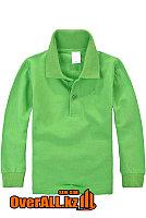 Детская зеленая футболка поло с длинным рукавом