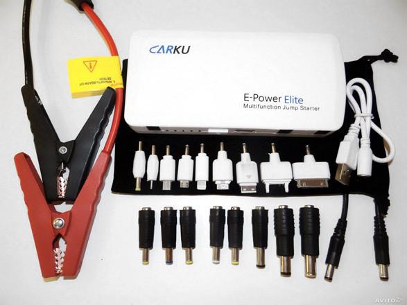 """Комплектация пуско-зарядного устройства """"Carku E-POWER Elite"""" 44,4 Вт/ч включает 17 переходников для разных моделей электронных гаджетов"""