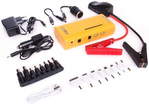 """Комплектация универсального пуско-зарядного устройства """"Carku E-POWER-37"""" включает 16 переходников для разных моделей телефонов и ноутбуков"""