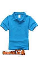 Детская голубая футболка поло, фото 1