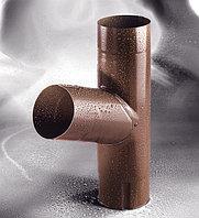 Тройник стальной для водостоков Flamingo (коричневый цвет)