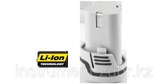 Батарея аккумуляторная Li-Ion, ЗУБР ЗАКБ-12-Ли, для шуруповертов ЗДА-12-Ли-К(Н), ЗДА-12-Ли ФКН, ЗША-12-Ли-КН, ЗГУА-12-Ли КНУ, ЗФА-12-Ли, 1.5А/ч, 12В