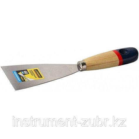 """Шпательная лопатка STAYER """"PROFI"""" c нержавеющим полотном, деревянная ручка, 60мм                                        , фото 2"""