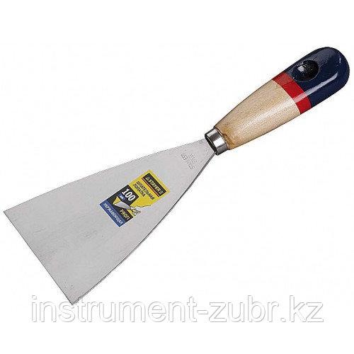"""Шпательная лопатка STAYER """"PROFI"""" c нержавеющим полотном, деревянная ручка, 100мм"""