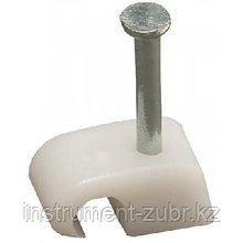 Скоба-держатель круглая СД-К 7 мм, 50 шт, с оцинкованным гвоздем, ЗУБР