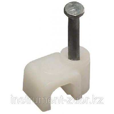 Скоба-держатель прямоугольная СД-П, 4 мм, 50 шт, с оцинкованным гвоздем ЗУБР, фото 2