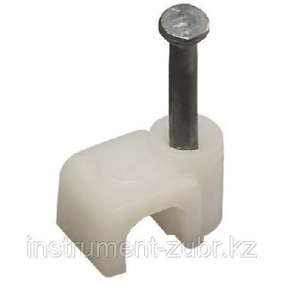 Скоба-держатель прямоугольная СД-П, 6 мм, 50 шт, с оцинкованным гвоздем ЗУБР