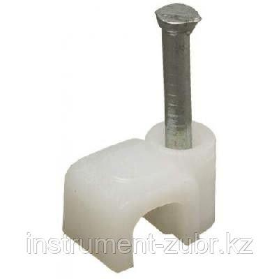 Скоба-держатель прямоугольная, 7 мм, 100 шт, с оцинкованным гвоздем, STAYER