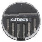 "Набор STAYER Биты ""MASTER"" с магнитным адаптером в круглом мини-боксе, PH1, PH2, PZ1, PZ2, SL4,5, SL5,5, 7 пред"