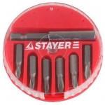 "Набор STAYER Биты ""MASTER"" с магнитным адаптером в круглом мини-боксе, PH1 (2шт), PH2 (3шт), PH3 (1шт), 7 пред"