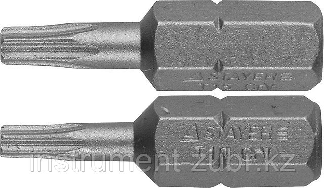 "Биты STAYER ""PROFI"" Cr-V сталь, тип хвостовика C 1/4"", 25 мм, T10 - 1 шт, Т15 - 1шт, 2 шт"