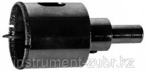 Коронка алмазная по кафелю и стеклу, d=35 мм, зерно Р 60, в сборе с центрирующим сверлом и имбусовым ключом, ЗУБР Профессионал 29850-35