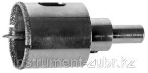 Коронка алмазная по кафелю и стеклу, d=53 мм, зерно Р 60, в сборе с центрирующим сверлом и имбусовым ключом, ЗУБР Профессионал 29850-53