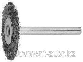 Щетка ЗУБР радиальная, нержавеющая сталь, на шпильке, d 20x 3,2мм, L 42мм, 1шт