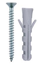 """Дюбель распорный полипропиленовый, тип """"ЕВРО"""", в комплекте с шурупом, 5 х 25 / 3,0 х 30 мм, 15 шт, ЗУБР"""