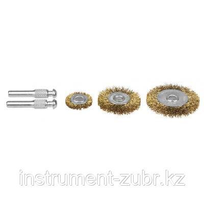 """Набор STAYER """"PROFI"""": Щетки-крацовки, витая латун. стальная проволока 0,3мм, сменные шпильки, дисковые 25-40-50мм, 3шт, фото 2"""