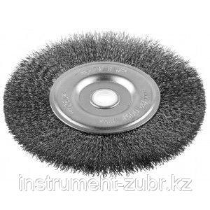 """Щетка ЗУБР """"ЭКСПЕРТ"""" дисковая для точильно-шлифовального станка, витая стальная проволока 0.3 мм, 125/12.7мм"""