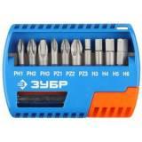 Набор ЗУБР: Биты с магнитным адаптером, Cr-Mo, TORX 7,8,9,10,15,20,25,27,30,40, 11 предметов
