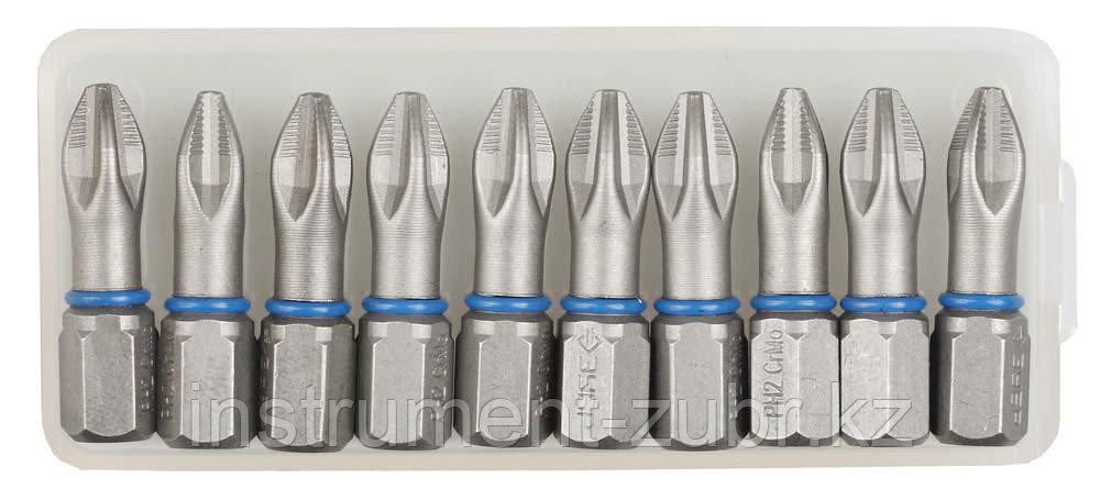 """Биты ЗУБР """"ЭКСПЕРТ"""" торсионные кованые, обточенные, хромомолибденовая сталь, тип хвостовика C 1/4"""", PZ2, 25мм, 10шт"""