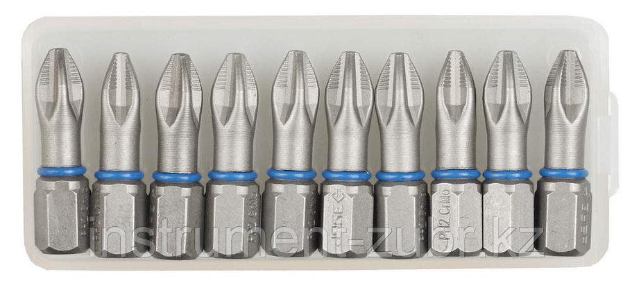 """Биты ЗУБР """"ЭКСПЕРТ"""" торсионные кованые, обточенные, хромомолибденовая сталь, тип хвостовика C 1/4"""", PZ2, 25мм, 10шт     , фото 2"""