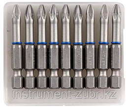 """Биты ЗУБР """"ЭКСПЕРТ"""" торсионные кованые, обточенные, хромомолибденовая сталь, тип хвостовика E 1/4"""", PZ2, 50мм, 10шт"""