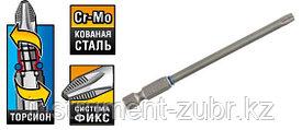 """Бита ЗУБР """"ЭКСПЕРТ"""" торсионная кованая, обточенная, хромомолибденовая сталь, тип хвостовика E 1/4"""", T30, 100мм, 1шт"""