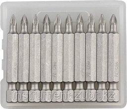 """Биты ЗУБР """"МАСТЕР"""" кованые, хромомолибденовая сталь, тип хвостовика E 1/4"""", PZ1, 50мм, 10шт"""