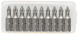 """Биты ЗУБР """"МАСТЕР"""" кованые, хромомолибденовая сталь, тип хвостовика C 1/4"""", PZ2, 25мм, 10шт"""