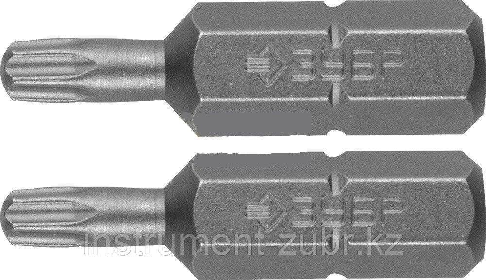 """Биты ЗУБР """"МАСТЕР"""" кованые, хромомолибденовая сталь, тип хвостовика C 1/4"""", T30, 25мм, 2шт"""