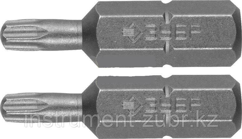 """Биты ЗУБР """"МАСТЕР"""" кованые, хромомолибденовая сталь, тип хвостовика C 1/4"""", T30, 25мм, 2шт                              , фото 2"""