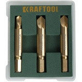 Набор экстракторов KRAFTOOL для выкручивания крепежа с износом граней шлица до 95%.PH1/PZ1,PH2/PZ2,PH3/PZ3,3 предмета